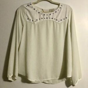 Flowy Long Sleeve Blouse Top w/ Stud Embellishments on Front Neckline Size Med